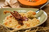 Italian risotto with grilled mushrooms and bacon