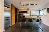 Brick Wall In Contemporary Kitchen