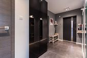 Gray Anteroom In Contemporary Dwelling