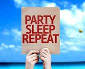 Party Sleep Repeat card with a beach on background