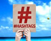 Hashtag Icon with #Hashtags card with a beach on background