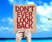 Don't Ever Look Back card with a beach on background