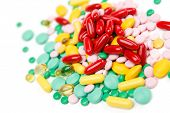 Pills vitamin supplement, on white background