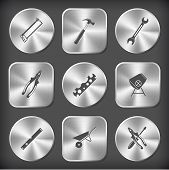 Industrial tools set. Vector round and square steel buttons.