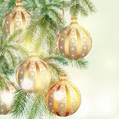 Christmas Background With Silver And Golden Baubles