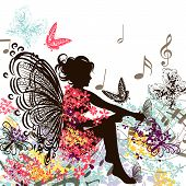 Floral Music Fairy With Butterflies