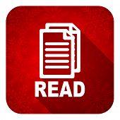 read flat icon, christmas button