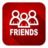friends flat icon, christmas button