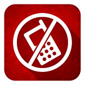 no phone flat icon, christmas button, no calls sign