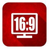 16 9 display flat icon, christmas button