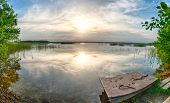 Beutiful vivid sunset over the lake Kanieris, Latvia. HDR