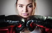 foto of martial arts girl  - Martial arts or self defence concept - JPG