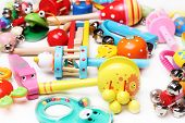 different rattles for babies background