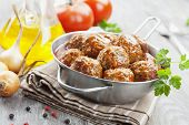 foto of meatball  - Meatballs in tomato sauce in the pan  - JPG