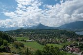 stock photo of annecy  - Savoie France Annecy lake rural landscape in summer vacation