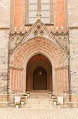 Entrance Portal Of Myeongdong Cathedral Of The Blessed Mary In Seoul, Korea