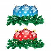Set Of Red And Blue Christmas Balls And Christmas Tree Isolated On A White Background