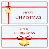 Set Of Christmas And New Year Banners With Red Ribbons And Christmas Decorations