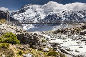 stock photo of hooker  - Bridge over Hooker River in Aoraki national park New Zealand - JPG