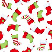Seamless background with Christmas socks. Vector illustration.