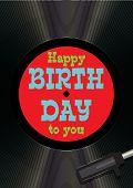Template Greeting Card Happy Birthday On Vinyl