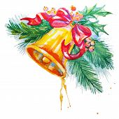 Watercolor background with Christmas bell