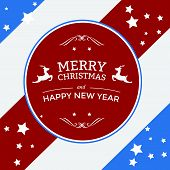 Merry Christmas Badge On Stripes Background