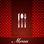 restaurant menu design with knife, spoon and fork