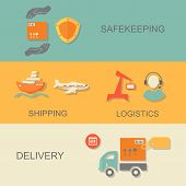 set of logistics safekeeping delivery shipping isolated  illustration