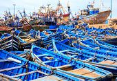 foto of boat  - Beautiful blue boats in old Essaouira harbor Morocco - JPG