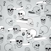 human skulls seamless pattern with ribbons, keys and heart shape lock