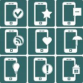 Whites Phone with Different Signs, Vector Illustration