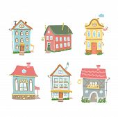 Cute cartoon  set of hand drawn houses Home Sweet Home on white background