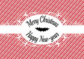 foto of candy cane border  - Candy cane label Merry christmas and happy new year - JPG