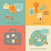 Business data protection technology and cloud network security concept infographic design elements