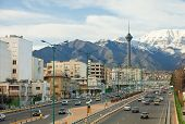 Street View Of Tehran With Milad Tower And Alborz Mountains