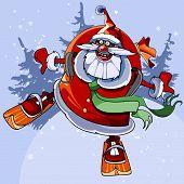 Cheerful Santa Claus On Skis Flies.eps
