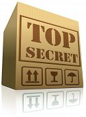 top secret confidential and classified information in cardboard box