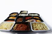 image of frozen tv dinner  - A collection of various ready meals from different UK supermarkets - JPG