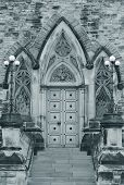 Door of historical building in Ottawa in black and white