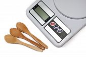 Digital kitchen scale and wooden spoons