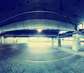 concrete structure series (parking garage) toned with a retro vintage instagram filter effect