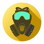 Flat icon of gas mask respirator. Vector Illustration.