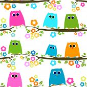 owls on branch, seamless pattern