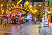 KOBE, JAPAN - NOVEMBER 26, 2012: Kobe Chinatown in the evening. It is one of three designated Chinatowns in Japan.