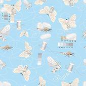 Silk cultivation cyan seamless vector pattern