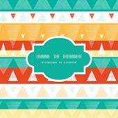 Vector vibrant ikat stripes frame seamless pattern background