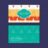 Vector vibrant ikat stripes horizontal frame pattern business cards set