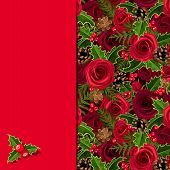 Christmas card with roses and holly. Vector eps-10.