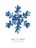 Vector abstract ice chrystals Christmas snowflake silhouette pattern frame card template